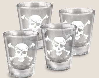Pirates - Gift Set of 4 - Shot Glass - Skull & Cross Bones - Comes in a FUN GIFT BOX - Pirate- by Trixie and Milo