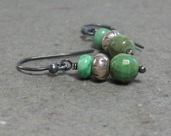 Chrysoprase Earrings Variscite Drop Turquoise Jewelry Oxidized Sterling Silver Gift for Her