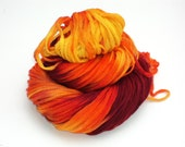 Genesis, Hand Dyed, Hand Painted, Ribbon, Yarn, Red, Orange, Yellow