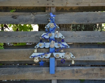 Reclaimed Wood Christmas Tree-Blue and Silver