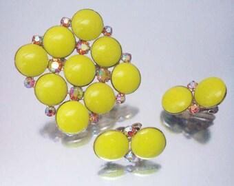 Large Yellow Stone Brooch Pin Earrings Aurora Borealis Set Vintage