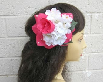 Pink Rose, Pink Rose Clip, Pinup Girl Hair Flower, Pinup Hair Clip, Rockabilly Rose Clip