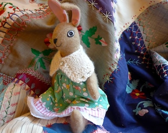 Bunny Doll -  A Sweet Wool Stuffed Animal