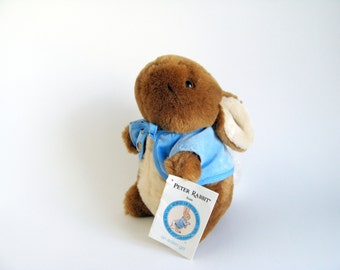 Vintage Peter Rabbit with Original Paper Tag Stuffed Animal Toy by Eden Beatrix Potter 1980s Toy