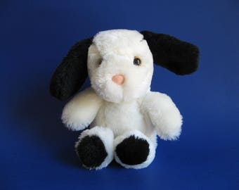 Vintage Dog Morris Puppy Stuffed Animal by Applause 1980s Toys 1986 Plush Black and White Pink Nose Small Dog