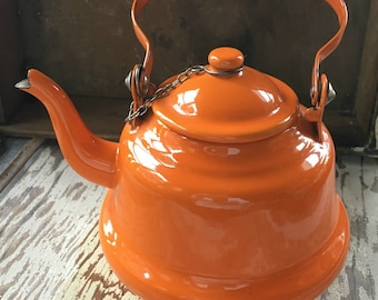 Vintage Orange Teapot, Orange Tea pot, Enamel, Enamelware, Retro, Kitchen, Serving, Decor, Mid Century, Mod, Kitchen Decor, Tangerine