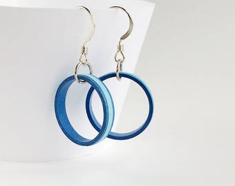 Lightweight blue quilled paper hoop dangle earrings, sterling silver earrings, colorful drop hoop earrings, bridesmaid earring gifts