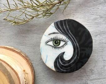 Tiny art, home decor, black hair, eye piece, green eye, gift for her, birthday gift, shellieartist, beautiful face, original art, wood slice