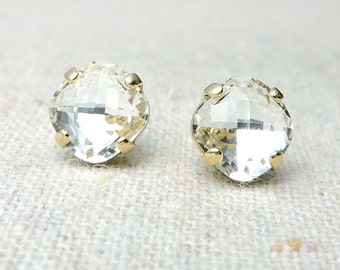 Swarovski Crystal Faux Diamond Post Earrings Cushion Cut Square Rose Gold Earrings Bridal Jewelry Wedding Earrings Bridesmaids Gifts