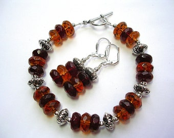 Topaz and Red Bracelet and Earring Set Faceted Glass and Silver Toggle Clasp Leverback Hooks Amber and Siam Jewelry Set Gifts under 10