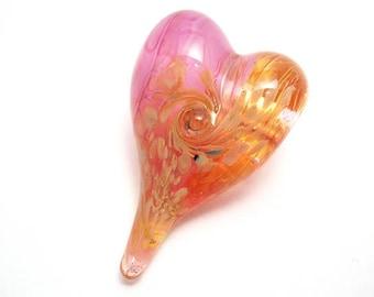 Pink transparent glass heart bead necklace, Lampwork glass bead pendant, focal bead, ready to wear jewelry, love totem, SRA art glass, SRAJD