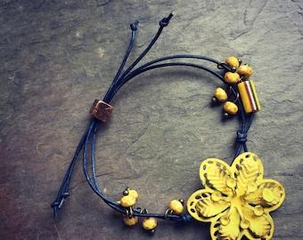 Filigree Flower and Leather Bracelet