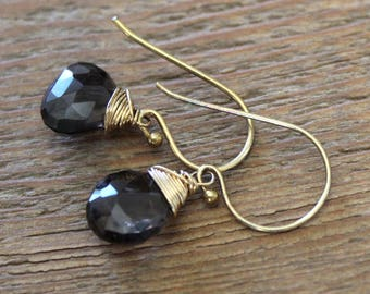 Smoky Quartz Wire Wrapped Gold Earrings