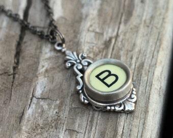 Typewriter Key Necklace Initial B, Vintage Wedding Ideas