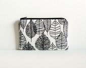 Coin Purse, Small Zipper Pouch, Women and Teens, Line Leaf in Black, Bark & Branch by Eloise Renouf for Cloud 9 Organic Cotton Fabrics