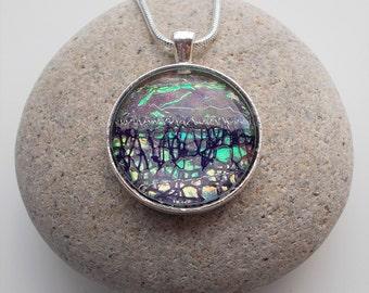 Purple Textile and Glass Pendant Necklace