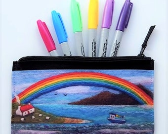 Printed Zip Pouch Boat and Rainbow Design