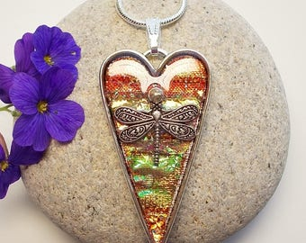 Dragonfly in Amber Heart Necklace