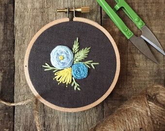 "Petite freestyle floral hoop with blue and yellow flowers, 3"" embroidered hoop"