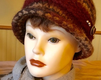 Rusty Grrl caramel variegated brown and rust 100% wool felted hat, warm and luxurious