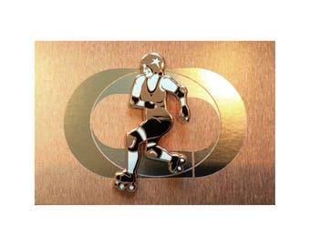 Roller Grrrl Pin in Rose Gold