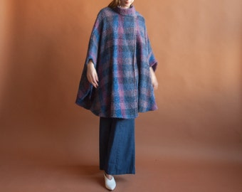 purple plaid knit cape / poncho coat / handmade scarf cape coat / s / m / l / 722o / R4