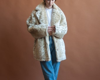 deadstock animal print faux fur coat / leopard print coat / oversized plush coat / s / m / l / 2137o / R5