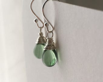 Antique Green Drop Earrings. Sterling Silver Earrings. Petite Teardrop Earrings. Briolette Earrings. Wedding Earrings. Wire Wrapped Earrings
