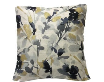 Decorative Floral Leaf Bud Print Pillow Cover Gray Black Gold Metallic Light Taupe Background Toss Throw Accent 18x18 inch  x
