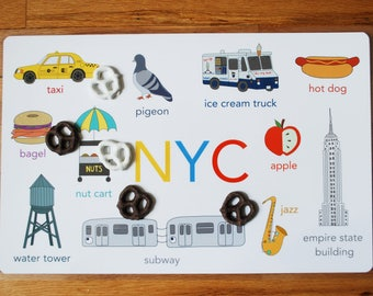 NYC Placemat, Double Sided Placemat, New York City Counting Placemat