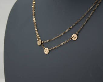 Double Layered Initial Necklace, Three Petite Discs, Asymmetrical, Gold Filled