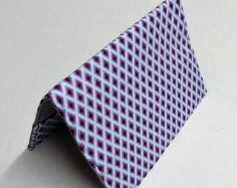 Passport Holder Travel Holiday Cruise Honeymoon Cover Case - Purple Diamond Shapes on Blue Fabric