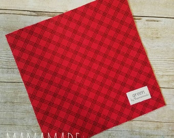 Red Plaid - Reusable Sandwich Bag | Snack Bag | Waterproof | Travel Bag from green by mamamade