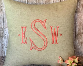 Monogram Pillow Cover. 18 x 18 Decorative Throw Pillow. Baroque Rib font.  Chinoiserie Decor. Embroidered Linens. Wedding Gift. Graduation.