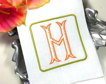 Monogram Initial Linen Guest Towel. Chinoiserie Decor. Hemstitch Powder Room Towel. Bar Cart. Hostess Gift. Sew Gracious. White Tea Towel.
