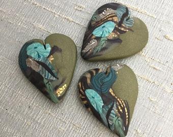 Gilded Bramble Heart Bead - Greenery
