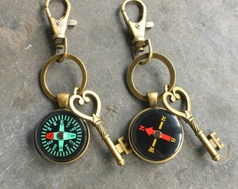 Wedding Party Compass Keychain Bronze with Ring and Key  Working Compass Groomsmen