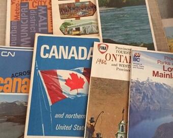 7 Vintage Canada Travel Road Maps Ephemera Road Trip