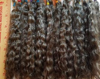 """F172 Lustrous Brushed Bundled Washed 8"""" Natural mohair Locks from Little Dipper (Orchid) 1 oz"""