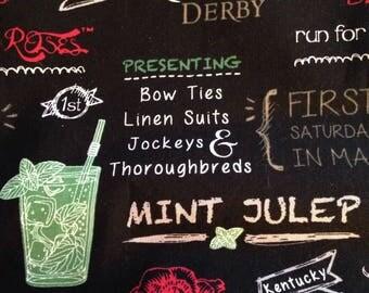 Mint Julep Fabric Kentucky Derby Run for the Roses Mint Julep Cocktail Fabric Decor FAT QUARTER, Derby Fashion Decor chalkboard