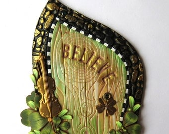 Believe Leprechaun Door Pixie Portal with a Brass Fiddle Polymer Clay Miniature Door for Fairy Gardens and Home