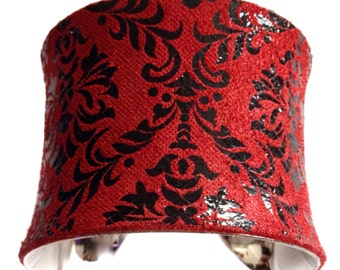 Red and Black Baroque Print Seude Leather Cuff  - by UNEARTHED