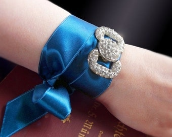 Valentines Day Sale - 2-in-1 Antique Art Deco Bracelet or Choker with Sapphire Blue Vintage Ribbon