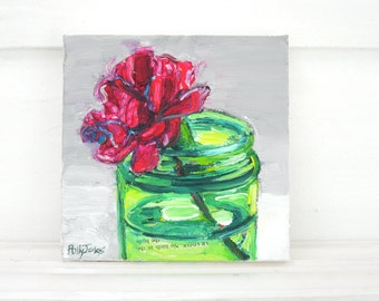 Carnation Glow original acrylic still life painting by Polly Jones