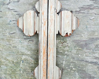 Salvaged Wood Wall Cross Religious Decor Distressed  Cross, Serbian Orthodox Cross Rustic Cross, Christian Decor Salvaged Wood Cross