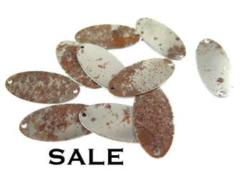 Rusted Steel Engraving Tag Oval Connectors (16X) (V089) SALE - 25% off