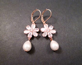 Pearl Earrings, Cubic Zirconia and Moonstone Flowers, White and Rose Gold Dangle Earrings, FREE Shipping U.S.