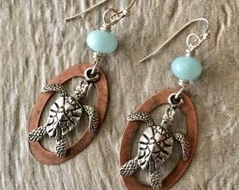 Sea Turtle Earrings, Beach Earrings, Ocean Earrings, Sterling Silver Sea Turtle, Sterling Earrings, Sea Turtle Jewelry, Loggerhead Earrings