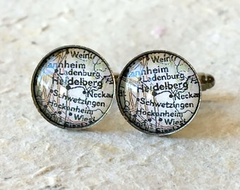 Heidelberg Map Cufflink Cuff Link Set - YOU PICK your map - Choose from 24 maps