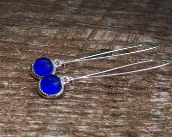 Recycled Vintage Cobalt Noxzema Jar Long Charm Earrings/Recycled/Repurposed/Upcycled/Blue Glass/Eco Friendly/Gift for Her/Vintage/Unique